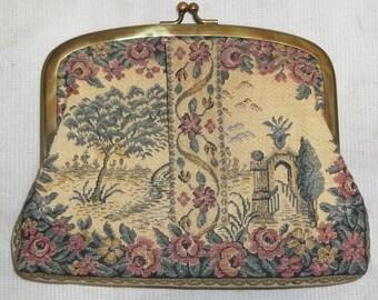 Vintage Petit Point Landscape Scene Tapestry Clutch Purse Bag Roses Floral