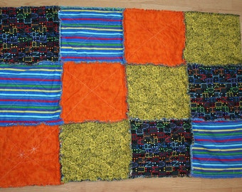Colorful One of a Kind Modern Rag Quilt