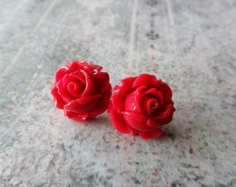 Cherry Red Rose Stud Post Earrings