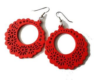 Red Flower Wooden Hoop Earrings, bright, statement, spring summer - medium size