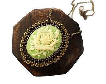 Large Cream Rose Pendant Necklace, Vintage Inspired Whimsy