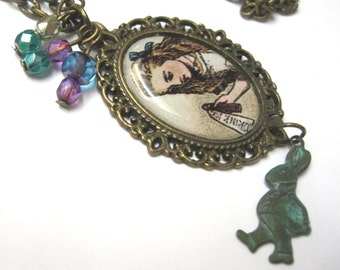 ALICE in Wonderland Charm Necklace // Alice themed extra long necklace, white rabbit brass charm // Under resin