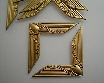 6 brass art deco corner brackets, No. 2