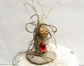 Art Doll Miniature Doll Assemblage OOAK Art Doll Art Doll One of A Kind Artdoll  Handmade Art Doll Red Gold Fantasy Doll Artist Doll # AD 1