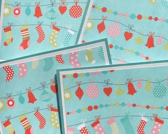 Christmas Card Set : 4 Hand-Stamped Greeting Cards with Matching Embellished Envelopes - Sweet Trimmings