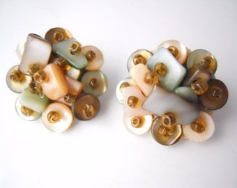 MOTHER of PEARL VINTAGE 1950s, cluster earrings, one inch wide, clip-on