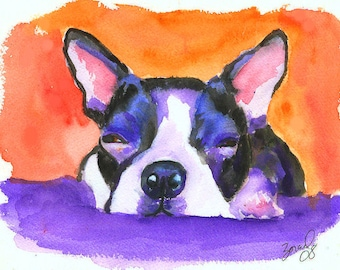 Boston Terrier Dog Art Print Mary Jo Zorad