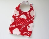 Baby Bib - Polka Dot Pig Applique - Gender Neutral - Flannel and Chenille