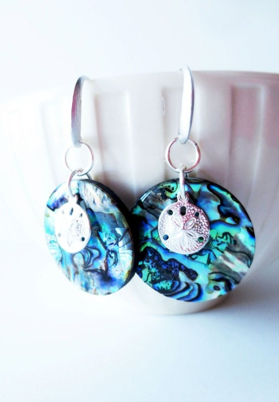 Paua shell earrings.  Paua dangle earrings.  Natural paua shell.  Sand dollar earrings.  Silver earrings. Abalone earrings.  Paua jewelry.