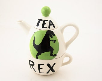 Tea-Rex Dinosaur Tea for one set, t-rex wordplay, funny gift for tea lover