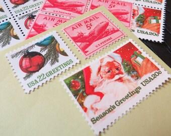 Christmas .. Jolly Saint Nicholas .. UNused Vintage Postage Stamps  .. post 5 letters
