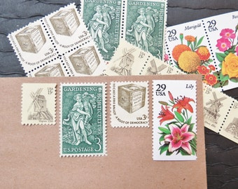 Windmills and Gardens .. UNused Vintage Postage Stamps  .. post 10 letters