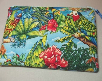 Handmade Zipper Pouch Cosmetic Bag in Bahama Blue Parrot Print