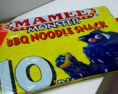 Extra Large UPCYCLED Monster noodle snack bag RECYCLED into make up bag or pencil case