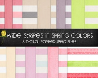 Spring wide stripe digital papers pastel colors
