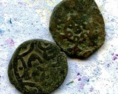 2 UNCLEANED coins from a dig,antique objects, something  curious, antique metal coin, coolvintage, collectibles, patina, old, age, 3K