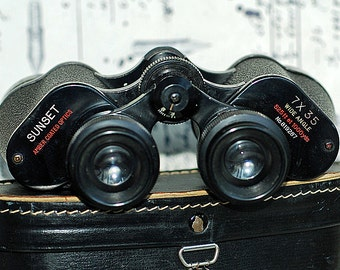 vintage binoculars with a case from an estate sale, cool vintage