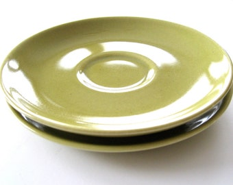 Russel Wright Iroquois Casual China Saucers - Avocado/Chartreuse