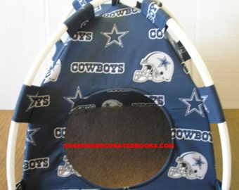 Large Handmade Dallas Cowboys Pup Tent Pet Bed For Cats / Dogs / Ferrets / Piggies Or Used For A Toy Box / Barbie Doll House