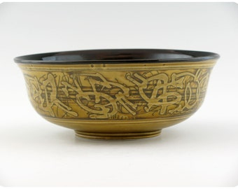 Etched Porcelain Bowl With Calligraphic Design   Ceramics Pottery