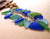 Sea Glass Charm Bracelet Shades of Blue & Greens