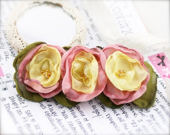 Pastel triplet flower barrette hair clip - Chiffon fabric and seed beads