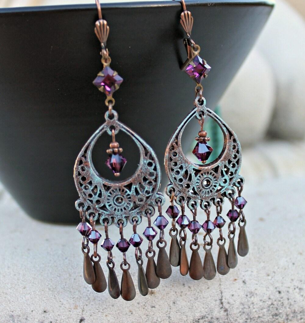 bohemian chandelier earrings antique copper teal patina