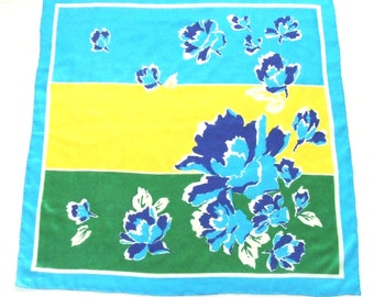 Silk Scarf Electric Blue Flowers with Green and Yellow