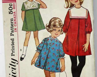 Vintage 1960s, Simplicity 5647, Child's One-Piece Dress, With Detachable Collar, Child's Size 5