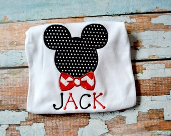 Mickey Mouse Bow Tie Shirt, Mickey Mouse Shirt, Boys Shirt, Boys Mickey Mouse Shirt