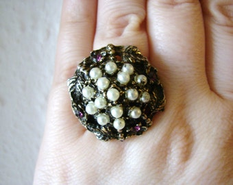 Vintage Nouveau style brass flower ring with white pearl and purple rhinestone accents- fully adjustable
