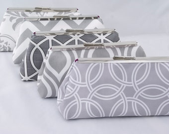 Set of (5) Gray Bridesmaids Handbags for Wedding Party Design your own in varying gray fabrics
