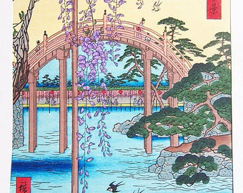 Vintage Woodblock by Hiroshige Ando - Ground of Kameido Tenjin Shrine