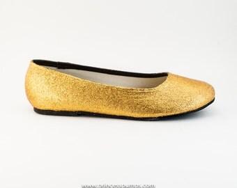 Gold Glitter Ballet Flat Slipper Custom Shoes