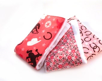 Cowgirl Burp Cloths - Cowboy Pink Brown Flowers Horses- Set of 3 Girls