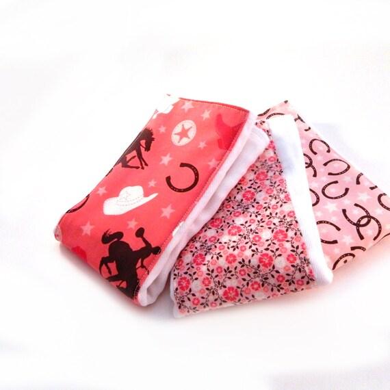Girl Burp Cloth set of 3-  Diaper Burp Cloths // Pink Cowboy Burp Cloth // Baby Shower Gift // Pink Burp Cloth // Gift For Baby