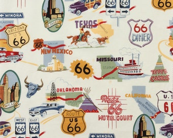 Route 66- Alexander Henry Fabrics Color Natural- Fabric 100% Cotton- By the Yard!