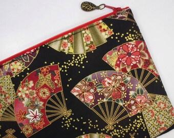 Japanese Folding Fan & Confetti Zipper Pouch / iPad mini Case / Clutch Bag