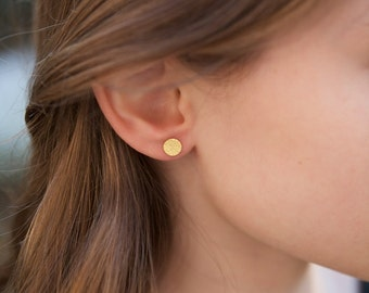 Solid Gold Circle Earrings Tiny Posts 22K and 14K Small Jewelry Simple Sophisticated Small Geometric Everyday Earrings
