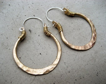 Golden Hoop Earrings, Smaller Size, Mixed Metal Jewelry, Sterling Silver Ear Wire, Hip, Ethnic, Boho, Urban