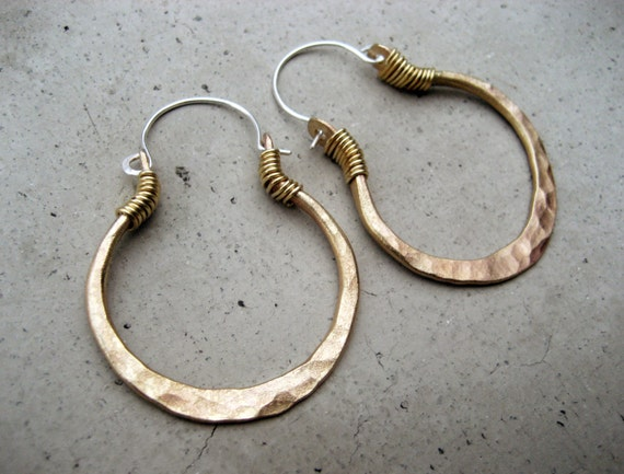 Golden Hoop Earrings, Smaller Size, Mixed Metal Jewelry, Sterling Silver Ear Wire, Hip, Ethnic, Boho, Urban
