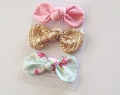 Pip- Mini or Medium Fabric Knot Bows- Set of 3
