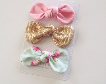 Pip- Mini or Medium Fabric Knot Bows- Set of 3