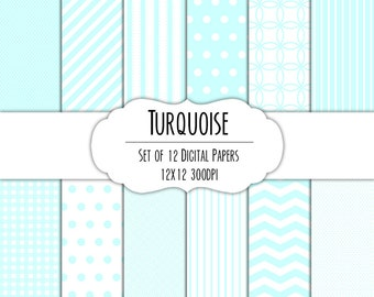 Turquoise Digital Scrapbook Paper 12x12 Pack - Set of 12 - Polka Dot, Chevron, Stripe, Gingham - Instant Download - Item# 8043