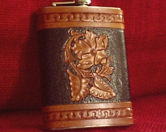 Handcrafted Leather Bound Stainless Steel Flask  Floral in Black  and BROWN