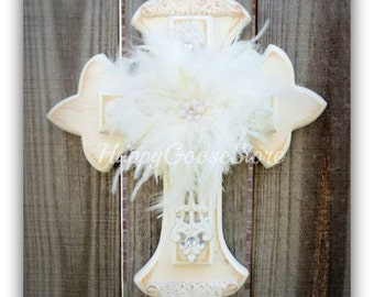 "Wall Cross - Wood Cross - X-Small - Antiqued White ""Shabby Chic"" with feathers and rhinestones"