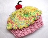 Cupcake Hat with Cherry on Top Cotton Candy Pink Cake Lemon Lemonade Frosting with Sprinkles Adult Children Baby Toddler hand made hand knit