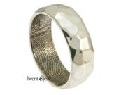 Wide Sterling Silver Hammered Fingerprint Wedding Band with Your Actual Fingerprint - High Polish Finish Fingerprint ring