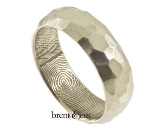 Wide Sterling Silver Hammered Finish Handcrafted Fingerprint Wedding Ring - Fingerprint Wrapped Inside - Tumbled Finish