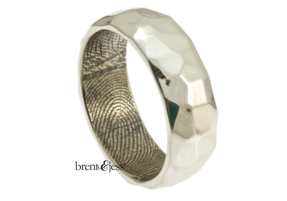Wide Sterling Silver Hammered Fingerprint Wedding Band with Interior Wrapped Print - High Polish Finish Fingerprint ring
